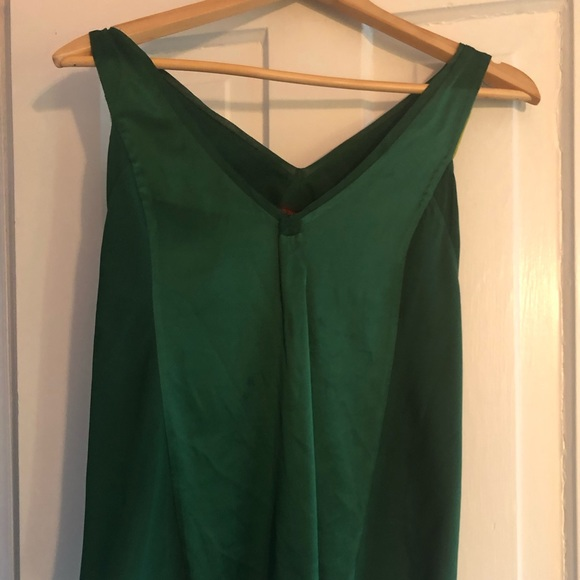 Emerald green silk cami